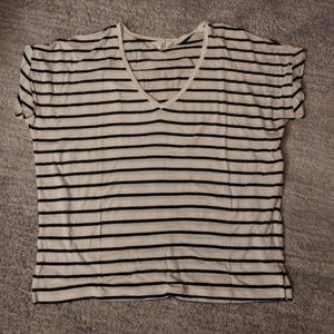 Zara black and white striped oversized v neck tee